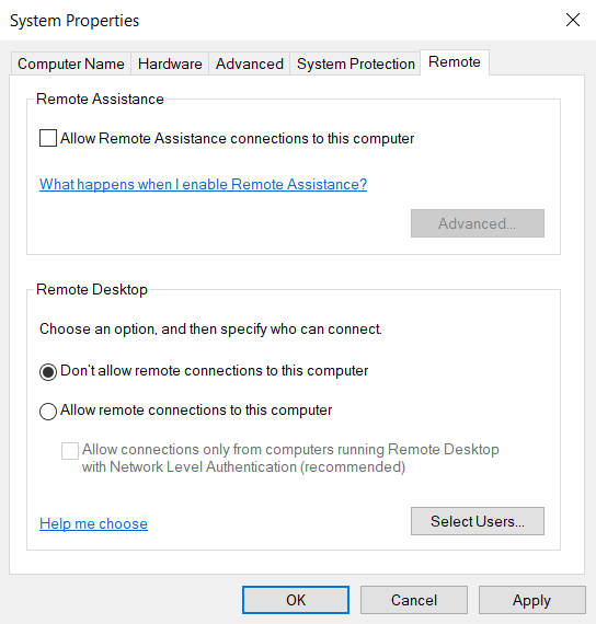 Protect your Windows Computer by Disabling the Remote Desktop