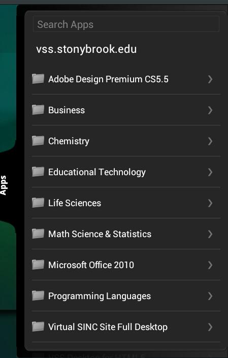 Citrix Receiver Apps list