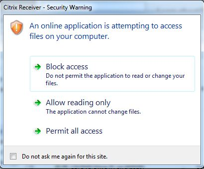 File access permission warning prompt