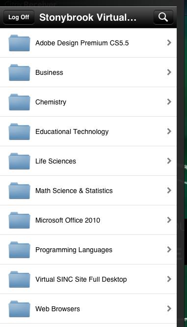 Virtual SINC Site on iPad Programs List