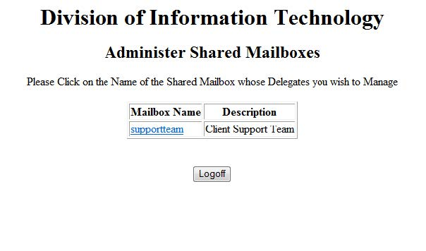Screenshot of Administering Shared Mailbox