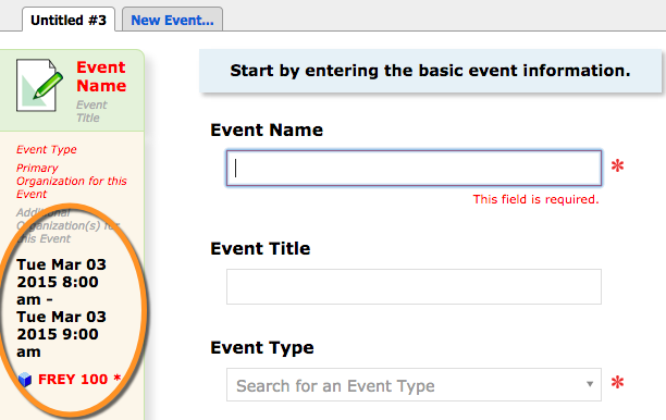 event wizard showing location and time information prepopulated from quick search