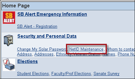 NetId Maintenance in SOLAR under Security and Personal Data