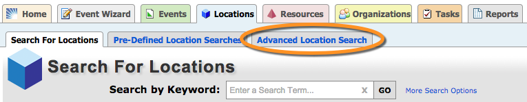 search for locations with search by keyword box in the search for locations tab and pre-defined location searches tab and advanced location search tab highlighted