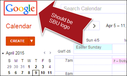 google calendar homepage with Google icon in top right corner instead of Stony Brook University Logo