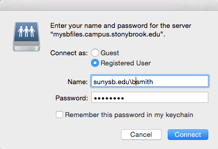 sign in window with Registered selected for Connect as; sunysb.edu\bsmith for Name; and a password for pasword
