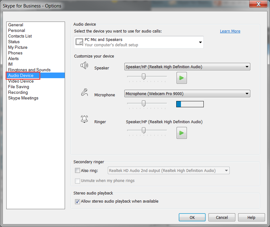 Setting up Audio and Video in Skype for Business | Division of