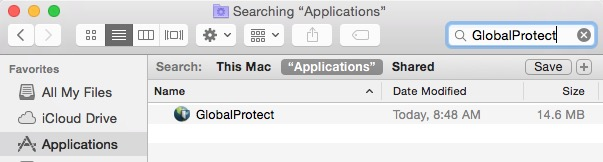 Globalprotect in finder applications