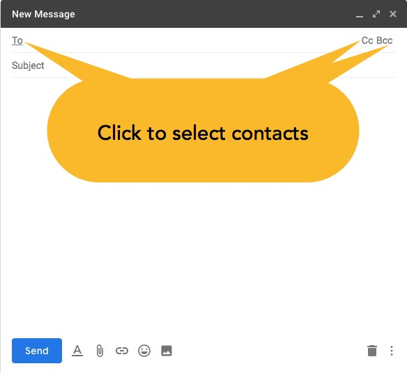 click To, CC, or BCC to open contact picker when composing or replying to an email