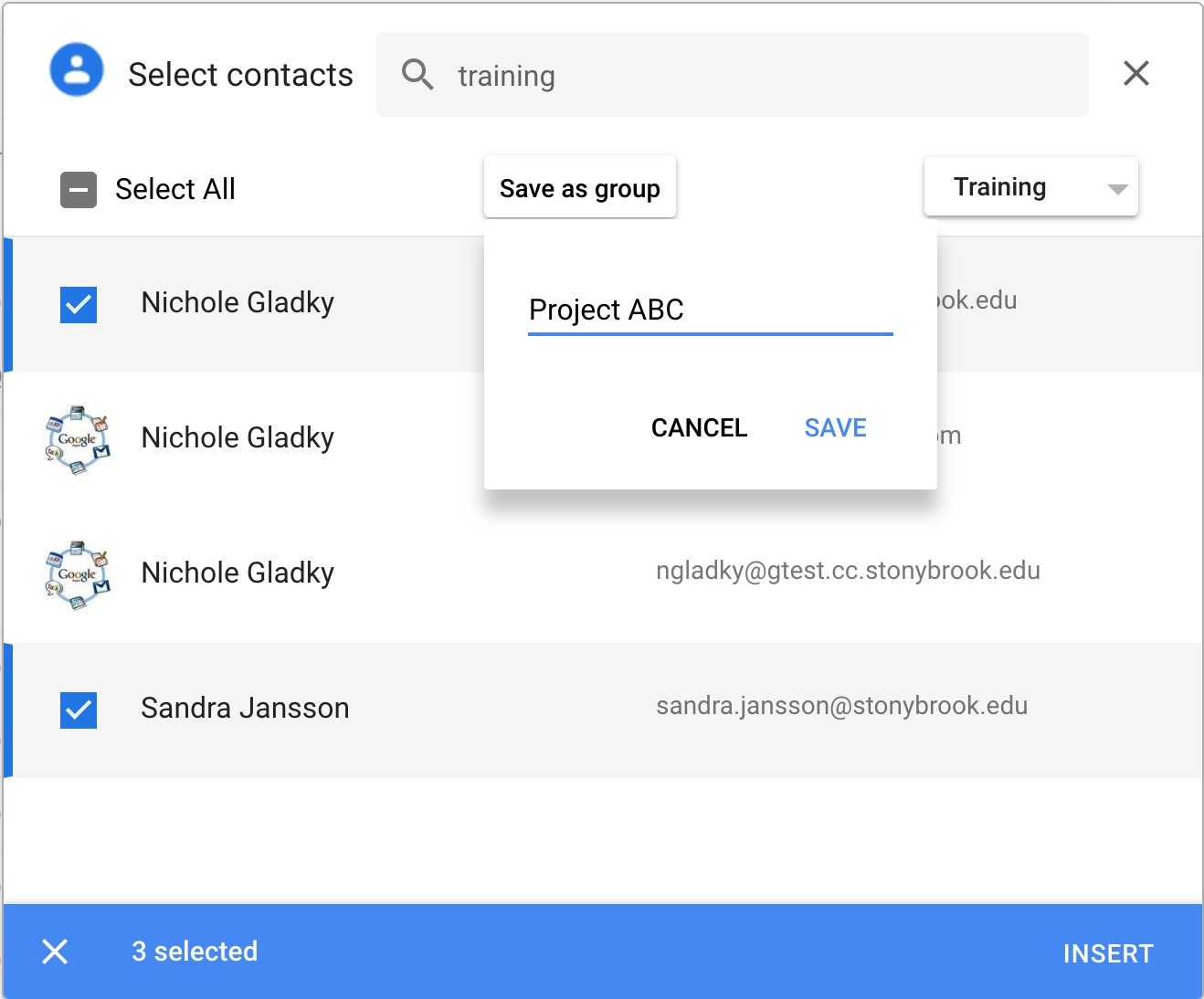 contact picker with contacts selected and new group Project ABC being created