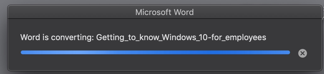 word status message while pdf is converting to Word