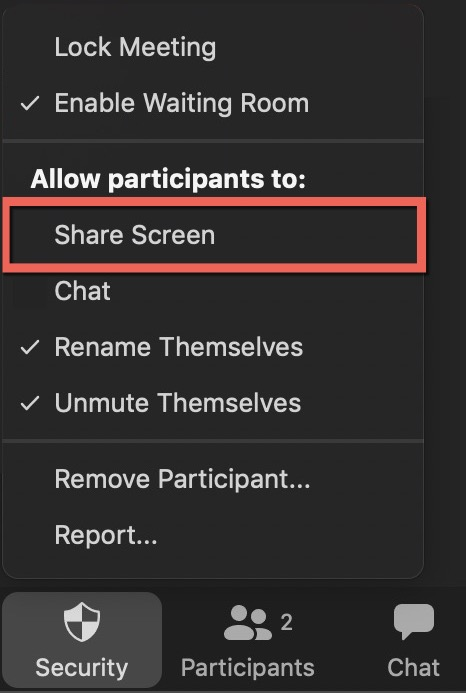 allow or not screen share