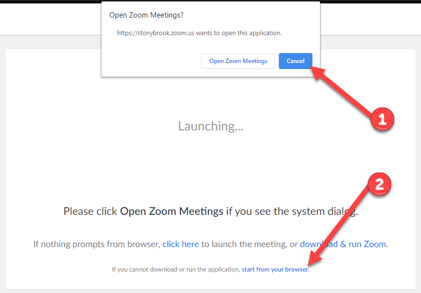 cancel opening zoom app join in browser instead