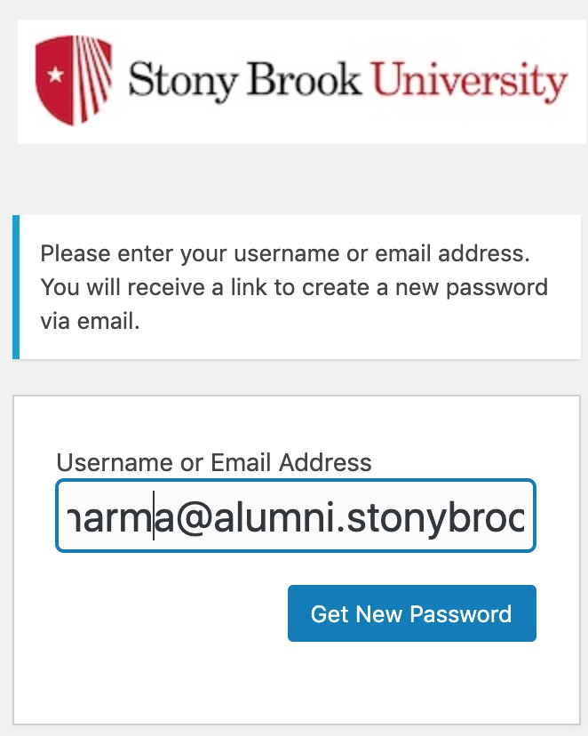 enter alumni email address