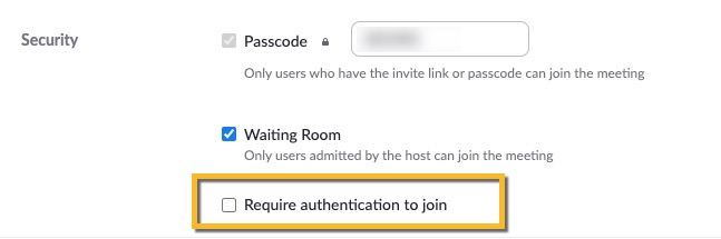 require authentication to join unchecked