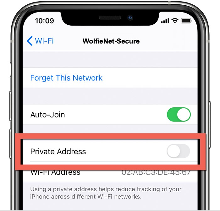 private address off for WolfieNet Secure