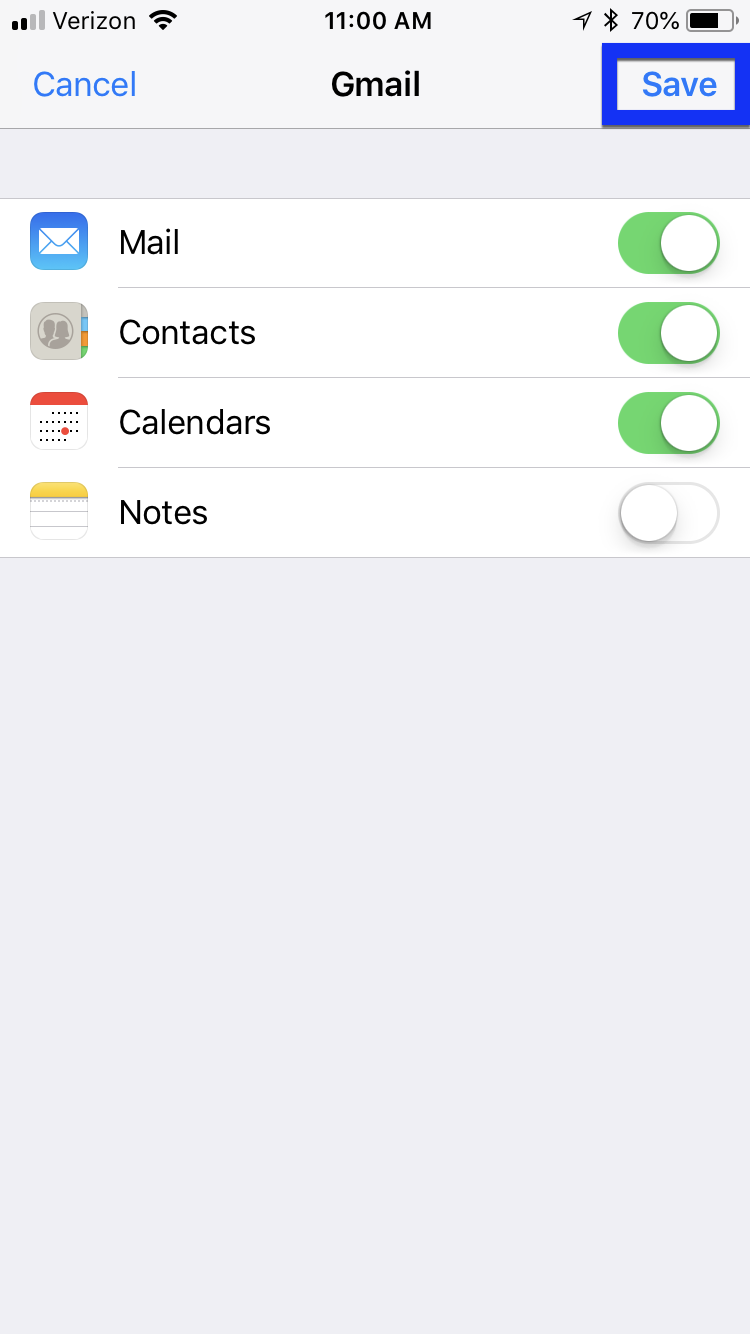 mail calendar contacts on with save button highlighted