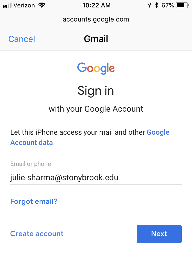 add google account sign in with julie.sharma@stonybrook.edu for email address