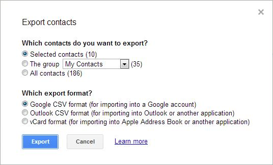 "This is an image of Google's ""Export contacts"" prompt."