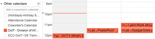 DoIT Events calendars in Other Google Calendars