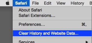 Safari menu with Clear History and Website Data ... selected