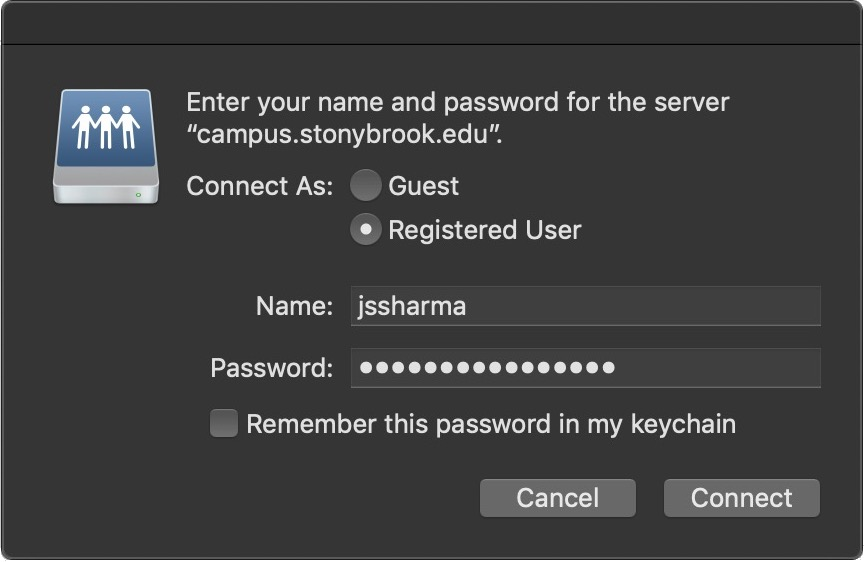 logging in with name (NetID) and password (netID password) for connecting to server to access shared department folder on mac