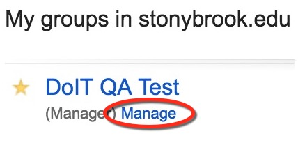 Manage button below Google Group user is manager of