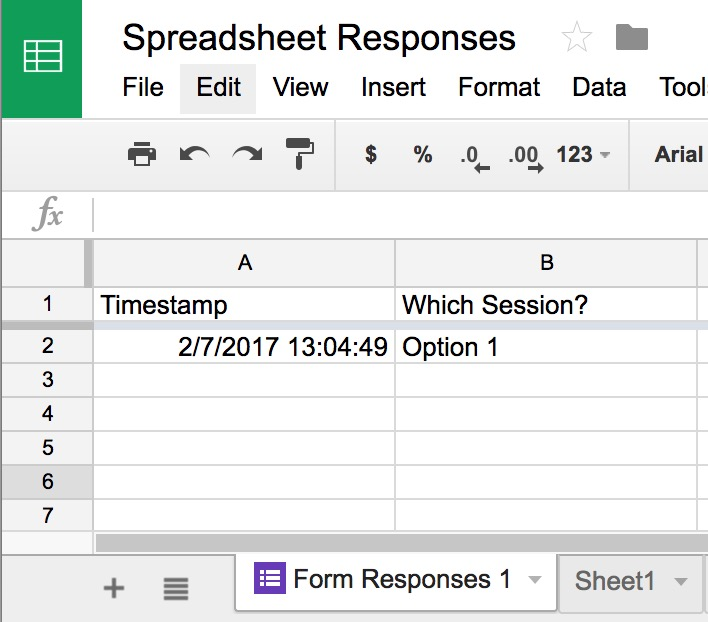 Google Form Responses Do Not Appear in the Spreadsheet Division of