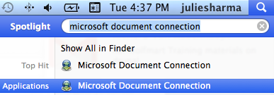 searching for and showing microsoft document connection in spotlight
