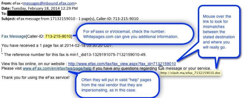 Screenshot of eFax e-mail and important attributes to review.