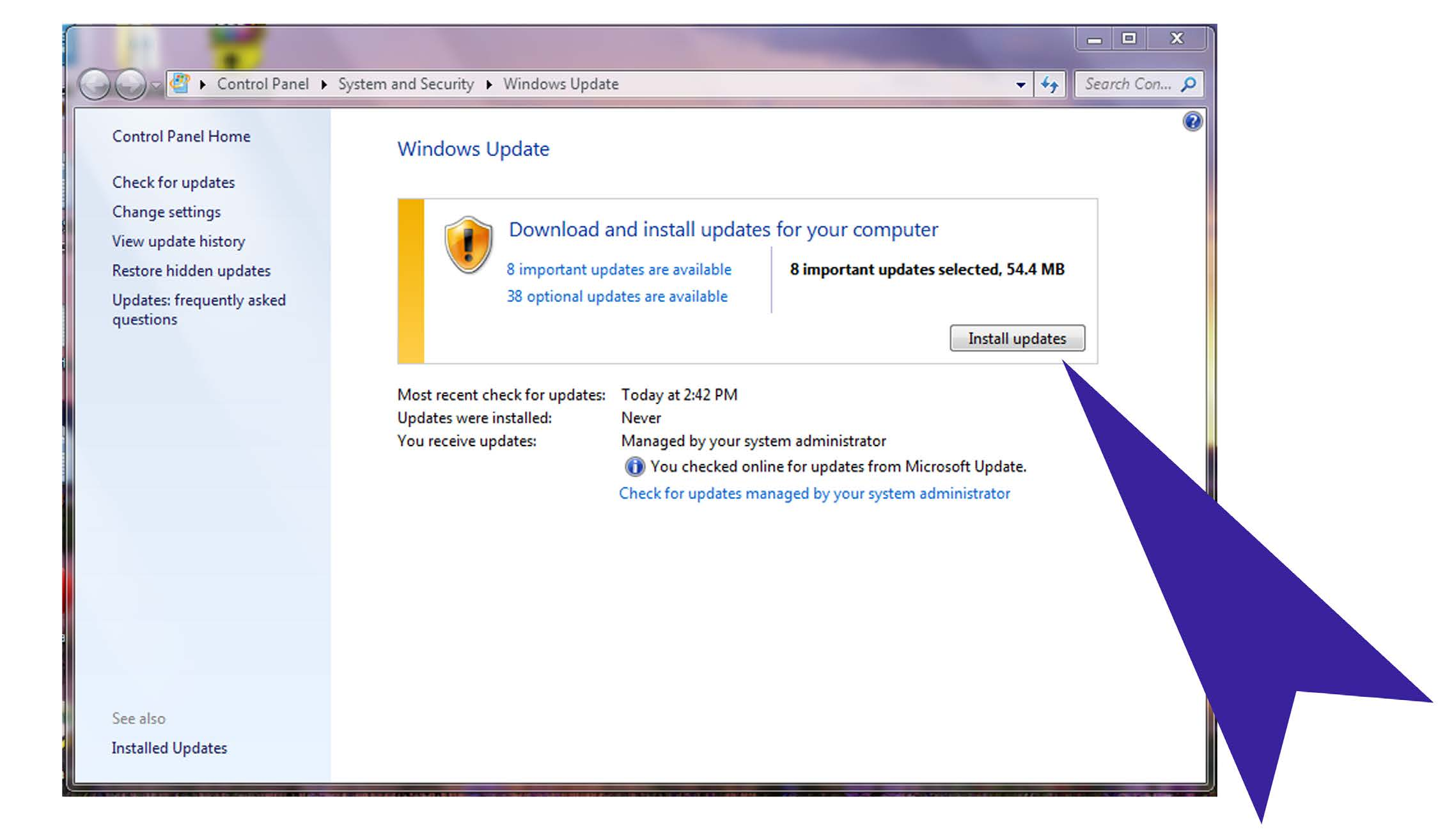 Installing windows updates on a windows 7 machine for Windows update