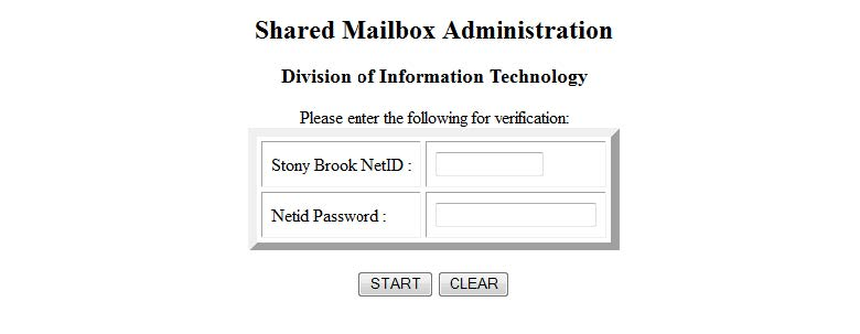 Shared Mailbox Administration Login screenshot