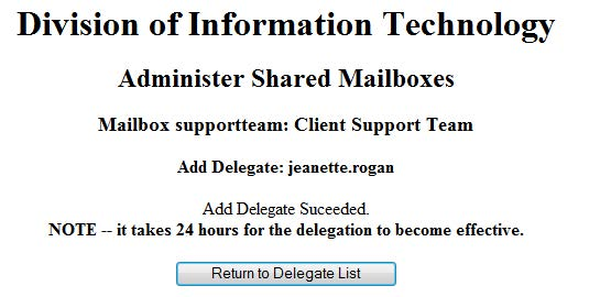 screenshot of shared mailbox delegation procedure