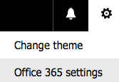 Office 365 settings selected from setting gear menu