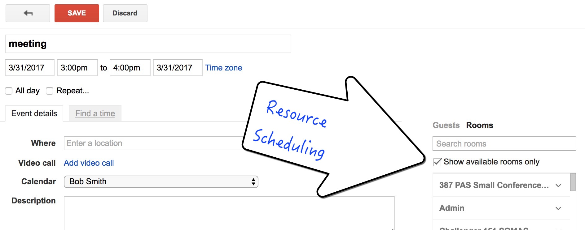 understanding and requesting google resource calendars division of