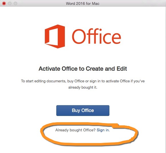 activate office window with link to Sign in