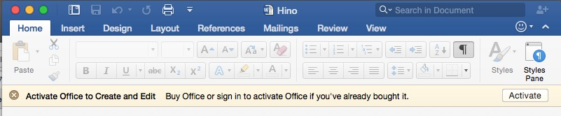 Banner on Microsoft Word indicating to Activate Office to create and edit