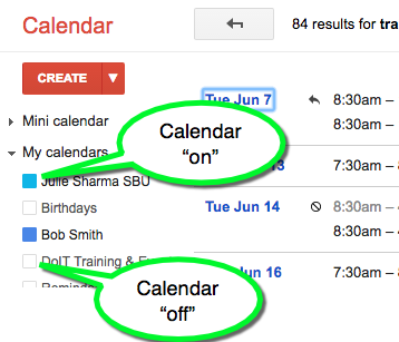 google calendar showing colors next to the calendars that are on and no colors next to the calendars that are off