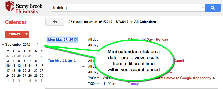 google calendar use mini calendar to view results from different dates
