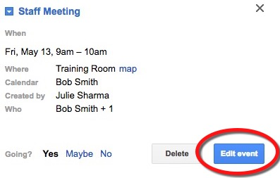 google_calendar_edit_event setting up a recurring (repeating) meeting in google calendar,Google Calendar Event Invite