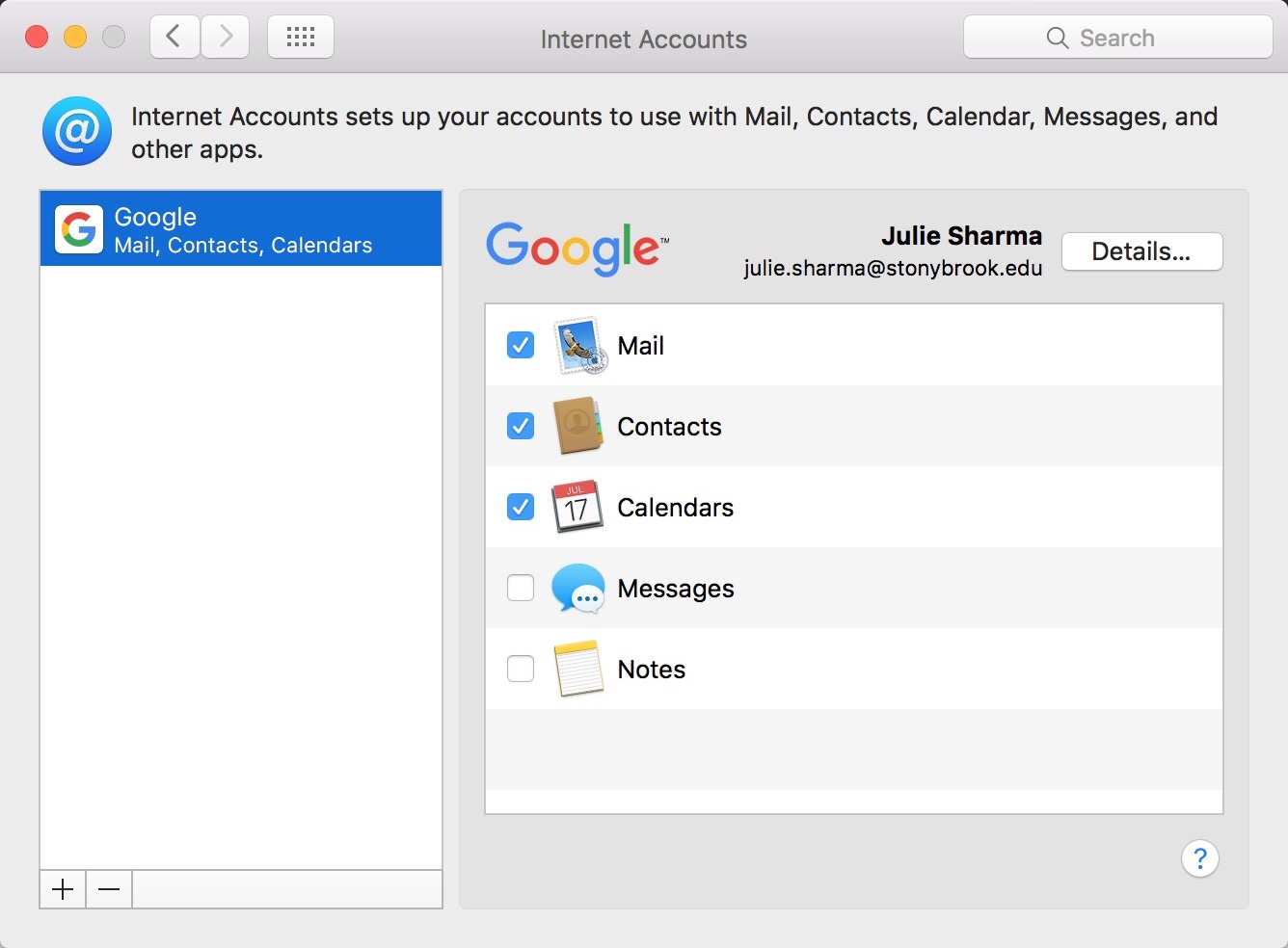google account added to apple