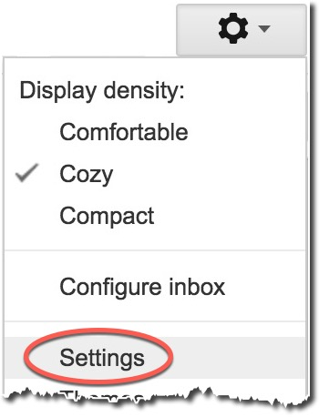 google mail gear menu with settings selected
