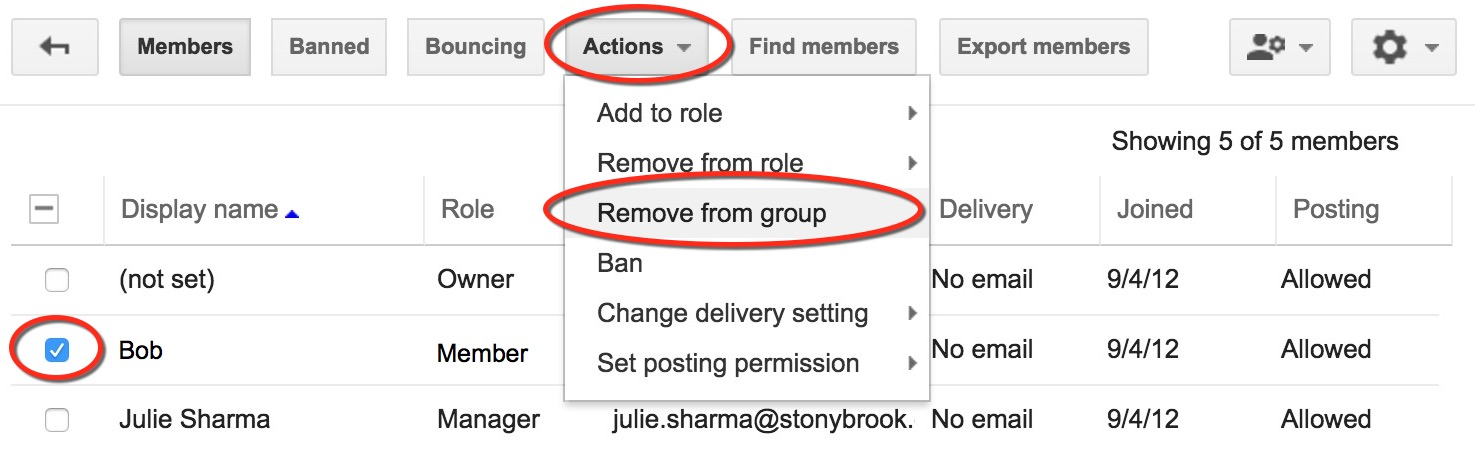 google group member selected then actions > remove member from group selected
