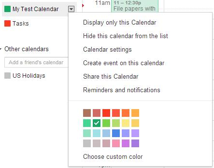 This is an image of Google's drop-down menu for calendars.