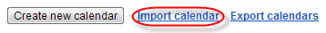 "This is an image of an ""Import calendar"" link circled in red."