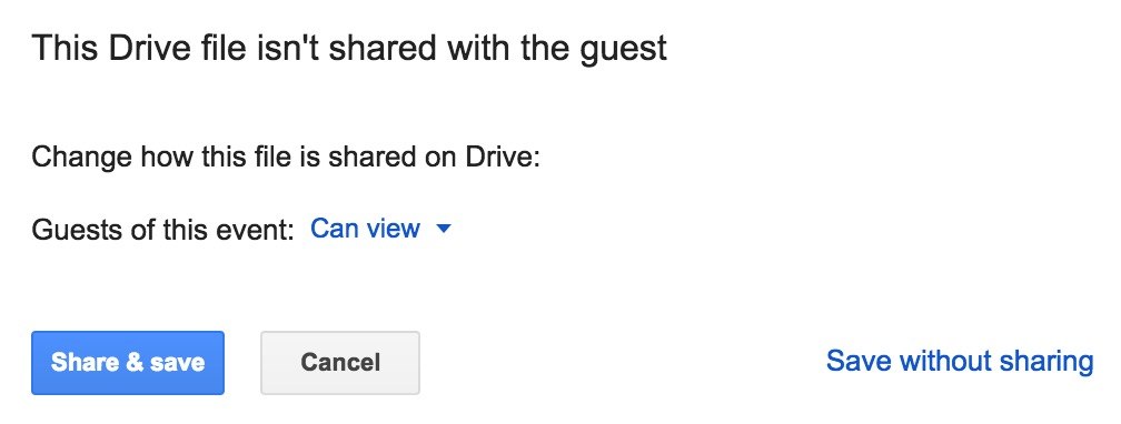 This Drive file isn't shared with the guest prompt to share calendar event attachment with guests