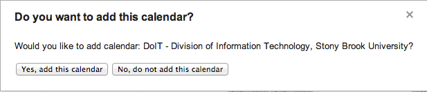 subscribe to Google Calendar pop up message