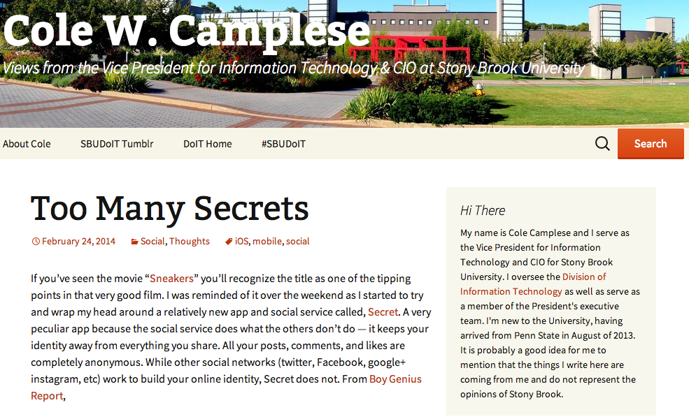 image of desktop view of Cole's blog: full view