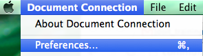 Microsoft Document Connection menu with Preferences selected