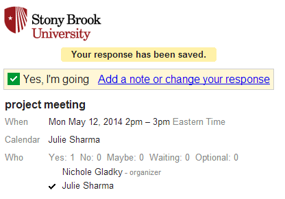 web browser message showing stony brook logo, rsvp choice, option to add a note or change response as well as who is attending the event